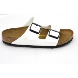 birkenstock arizona birko-flor® sandales - vernis-blanc, synthétique, liege