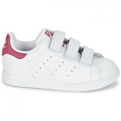 adidas stan smith cfi - blanc-rose, cuir, tissu